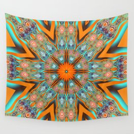 Star shape kaleidoscope with playful patterns Wall Tapestry