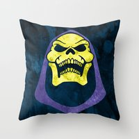 skeletor Throw Pillows featuring Skeletor by Some_Designs