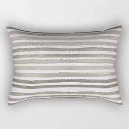 Simply Shibori Stripes Earth Brown on Lunar Gray Rectangular Pillow