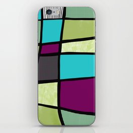 Patchwork in green iPhone Skin