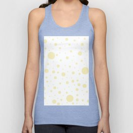 Mixed Polka Dots - Blond Yellow on White Unisex Tank Top