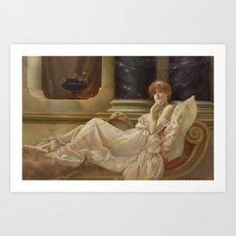 Charles Frederick Lowcock(British, 1878-1922)Femme sur la chaise Art Print