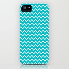 Teal Turquoise Blue Chevron Zigzag Pattern iPhone Case