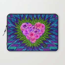 Floral Heart with Cannabis Leaves Laptop Sleeve