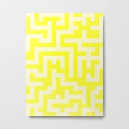 Cream Yellow and Electric Yellow Labyrinth Metal Print