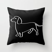 daschund Throw Pillows featuring Doxie Love White by WhyitsmeDesign