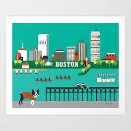 Boston, Massachusetts - Skyline Illustration by Loose Petals Art Print