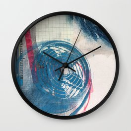 Looking Outward, mixed media print Wall Clock