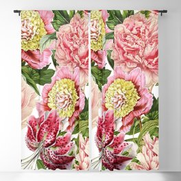 Vintage & Shabby Chic Floral Peony & Lily Flowers Watercolor Pattern Blackout Curtain