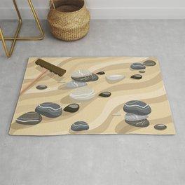Zen Garden Sand Stones and Rake Rug