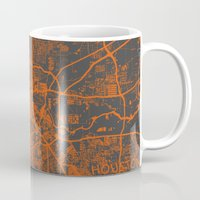 houston Mugs featuring Houston map by Map Map Maps