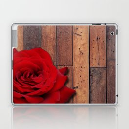 Red Rose & Wooden Background Laptop & iPad Skin