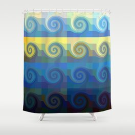 Abstract tiles and waves pattern Shower Curtain