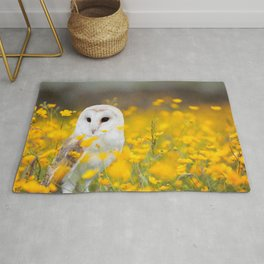 Little Owlet in Flowers (Color) Rug
