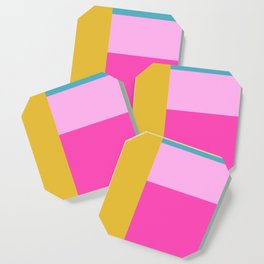 Geometric Bauhaus Style Color Block in Bright Colors Coaster