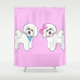 Bichon Frise friends on pink Shower Curtain