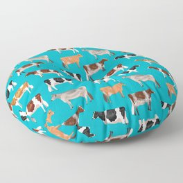 Dairy Breeds // Cerulean Floor Pillow