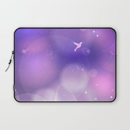 floral background with flowers, leaves, bird and branches of blooming tree. Stylized garden in tints Laptop Sleeve