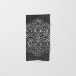Wood Mandala - Silver Hand & Bath Towel