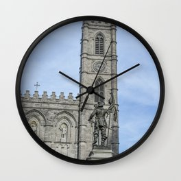 Maisonneuve statue facing Basilica Notre Dame, Montreal's Old Port district Wall Clock