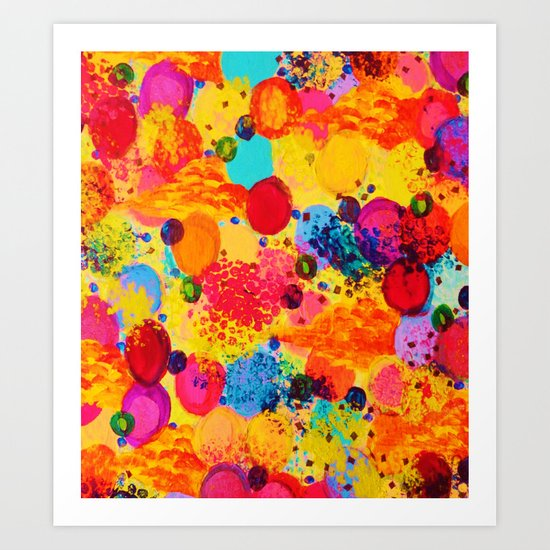 TIME FOR BUBBLY 2 - Fun Fiery Orange Red Whimsical Bubbles Bright Colorful Abstract Acrylic Painting Art Print