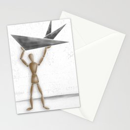 Man With Triangles - Grey Stationery Cards