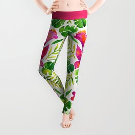 Tropical Symmetry – Pink & Green Leggings