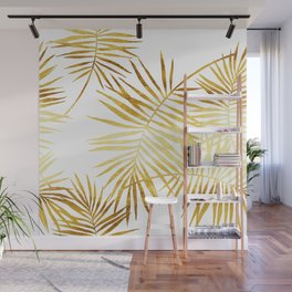 Tropical Palm Fronds in Gold Wall Mural