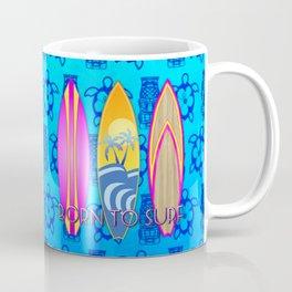 Pink Born To Surf Blue Tiki Mask Coffee Mug
