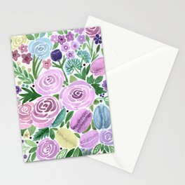 Watercolor . Macaroons in the colors . Stationery Cards