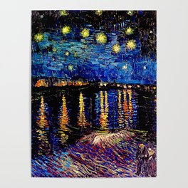 Over the rhone(starry night) Poster