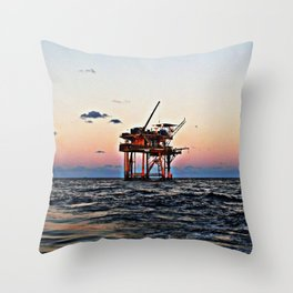 Oil Rig Throw Pillow