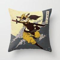 kitsune Throw Pillows featuring Kitsune by PD Design Studio