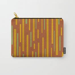 Interrupted Lines Mid-Century Modern Pattern in Mustard Yellow, Ochre, Green, and Clay Carry-All Pouch