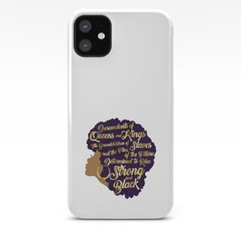 Black Girl Magic - Descendants of Queens and Kings Determined To Rise Faux Gold Afro Woman iPhone Case