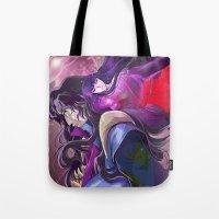 inuyasha Tote Bags featuring Naraku and Kikyou by Chantel Noel Illustrations