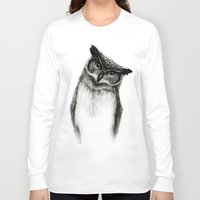 sketch Long Sleeve T-shirts featuring Owl Sketch by Isaiah K. Stephens