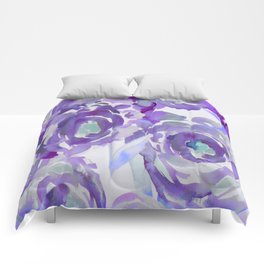 Purple Haze Painterly Floral Abstract Comforters