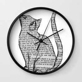 Cat reading itself cute book sticker Wall Clock