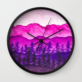 Purple and pink mountains Wall Clock