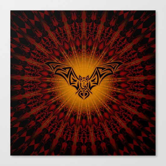 Bat and Mandala Halloween Canvas Print