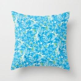 Blue Rose Garden Throw Pillow