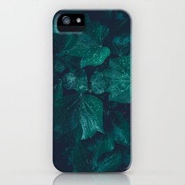 Dark emerald green ivy leaves water drops iPhone Case