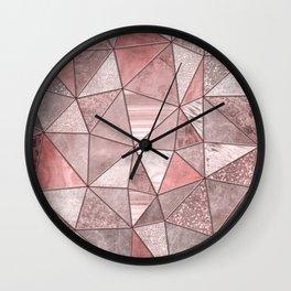 Soft Pink Glamour Gemstone Triangles Wall Clock