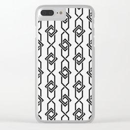 Japanese yukata geometric line pattern in grey Clear iPhone Case