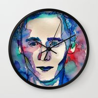 tom selleck Wall Clocks featuring Tom by Sara Cooley