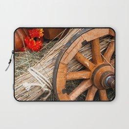 Vintage cart wheel, straw, hay, pumpkin Laptop Sleeve