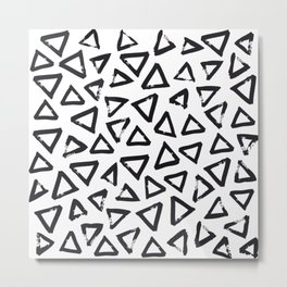 Black Brushstroke Triangel Pattern, Scandinavian Design Metal Print