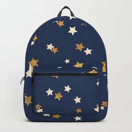 Navy blue faux gold glitter elegant starry pattern Backpack