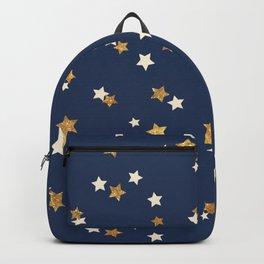 Navy blue faux gold glitter elegant starry pattern Backpack